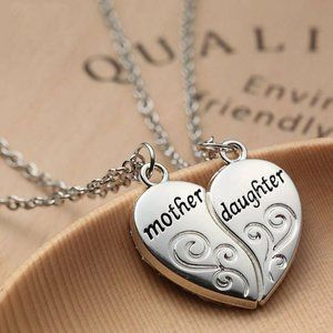 Silver Mother Daughter Heart Necklace Set